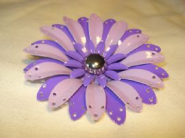 1960's Flower Brooch in soft and bright shades of Purple